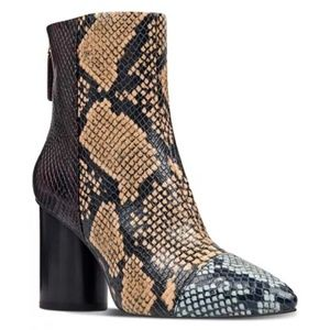 NINE WEST Cabrillo Cap-toe Snakeskin Ankle Booties